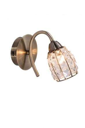 Roma 1 Light Antique Brass Wall Light with Crystal Shade