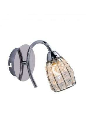 Roma 1 Light Polished Chrome Wall Light with Crystal Shade