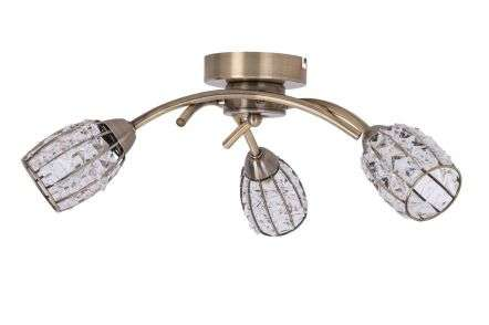 Roma 3 Light Antique Brass with Crystal Shade