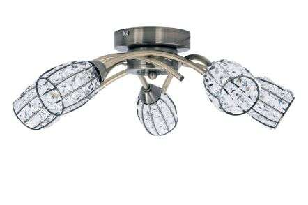 Roma 5 Light Antique Brass with Crystal Shade
