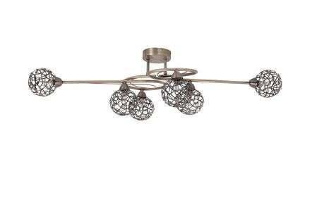 Ronda 6 Light Antique Brass with Mesh Ball Shade