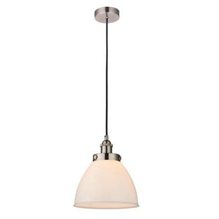 Rowan Single Pendant in Satin Nickel and Gloss Opal Glass