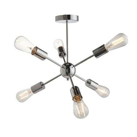 Rubens 6 Light Semi Flush Fitting in Polished Chrome Finish
