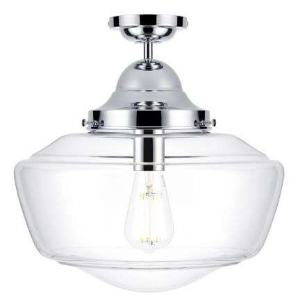 Rydal semi flush pendant chrome with clear glass, IP44 rated