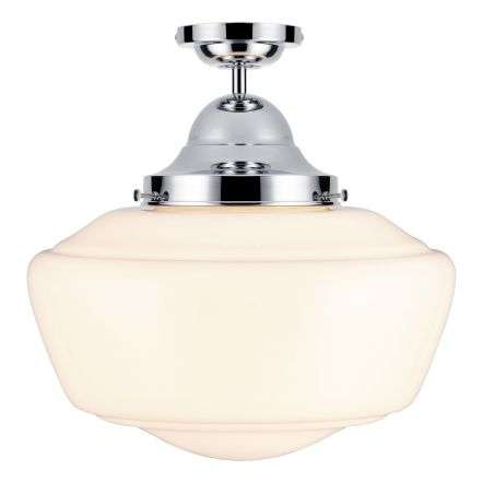 Rydal semi flush pendant chrome with opal glass, IP44 rated
