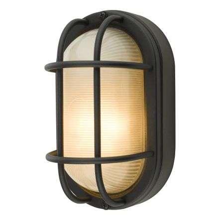 Salcombe Black Oval Outdoor Wall Light IP44