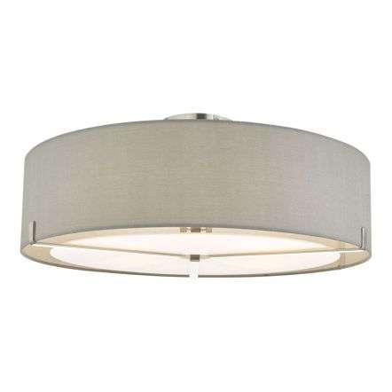 Santino 3 Light Semi Flush Satin Chrome with Grey Shade