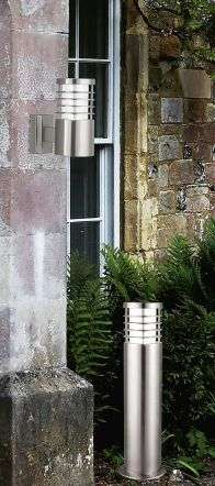 Satin Silver Ip44 Bollard Light With Polycarbonate Diffuser
