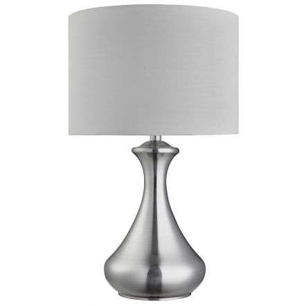 Satin Silver Touch Lamp With White Shade