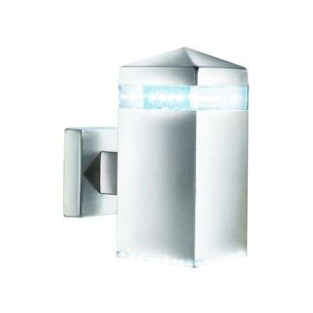 Satin SilverIp44 32 Led Outdoor Wall Light With Clear Diffuser