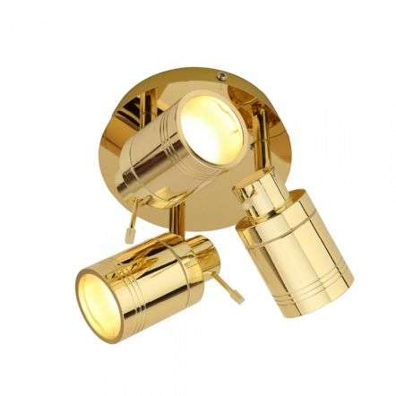 Scorpius 3 Light Brass Bathroom Spotlight