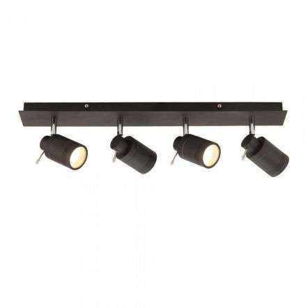 Scorpius 4 Light Matt Black Bathroom Spotlight Bar