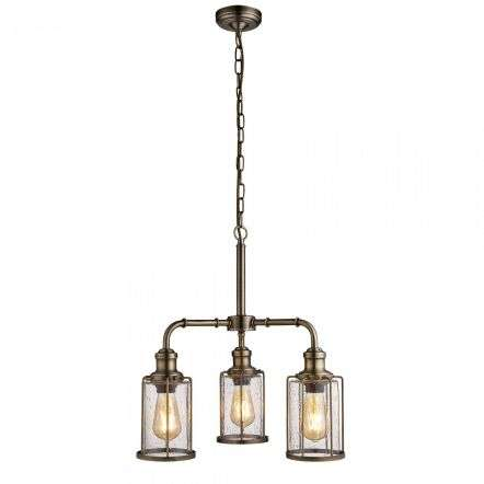 Searchlight 1163-3AB Pipes 3 Light Pendant Antique Brass With Seeded Glass