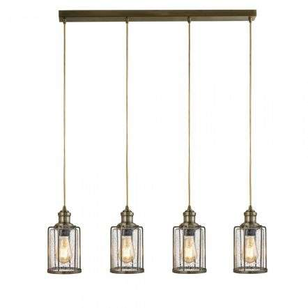 Searchlight 1164-4AB Pipes 4 Light Bar Pendant Antique Brass With Seeded Glass