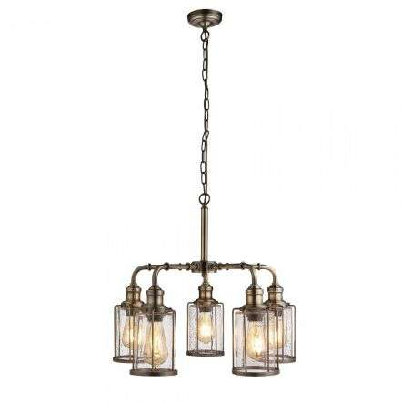 Searchlight 1265-5AB Pipes 5 Light Pendant Antique Brass With Seeded Glass