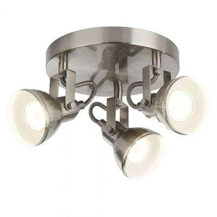 Searchlight 1543SS Focus 3 Light Satin Silver Industrial Spotlight Plate
