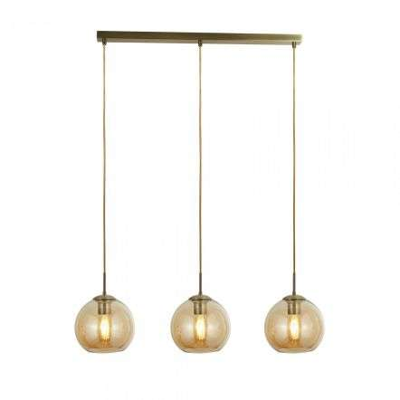 Searchlight 1623-3AM Pendant 3 Light Bar Antique Brass With Amber Glass
