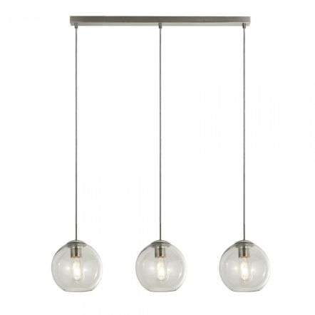 Searchlight 1623-3CL Pendant 3 Light Bar Satin Silver With Clear Glass