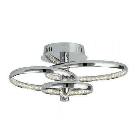 Searchlight 3133-3CC Rings 3 Light 28W LED Ceiling Flush Chrome Clear Crystal