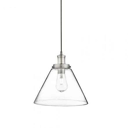 Searchlight 3228SS Pyramid 1 Light Pendant Satin Silver, Clear Pyramid Glass Shade