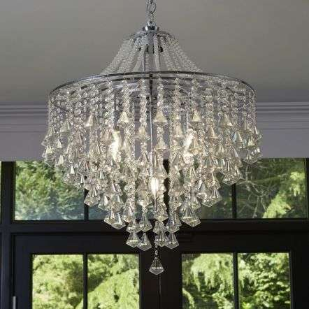 Searchlight 3495-5CC Dorchester 5 Light Ceiling, Chrome With Clear Crystal Buttons