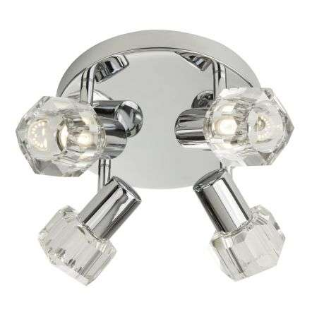 Searchlight 3764CC-LED Triton 16W LED 4 Light Spotlight Plate Chrome