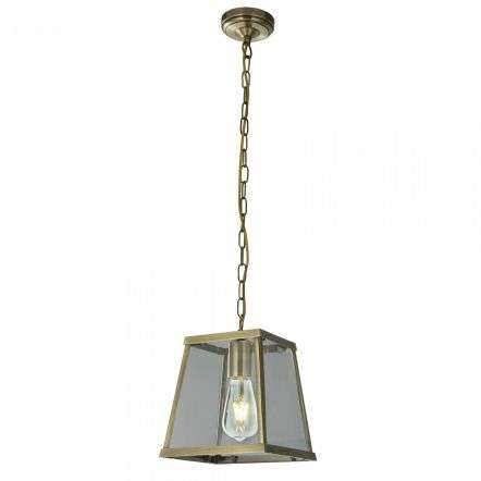 Searchlight 4614AB Voyager 1 Light Lantern Tapered Antique Brass With Clear Glass