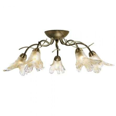 Searchlight 5495-5AB Lily 5 Light Semi Flush With Amber Petal Glass