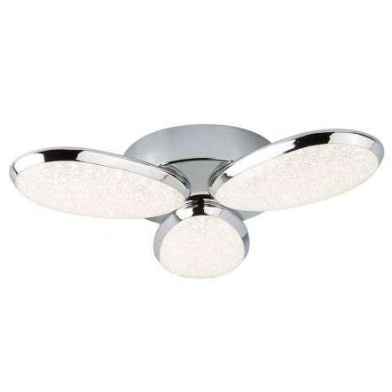 Searchlight 6213-3CC Lori 3 Light LED Ceiling Flush Crushed Ice Effect
