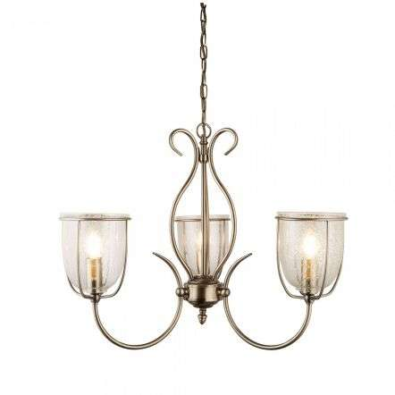 Searchlight 6353-3AB Silhouette 3 Light Antique Brass Clear Seeded Glass Shades