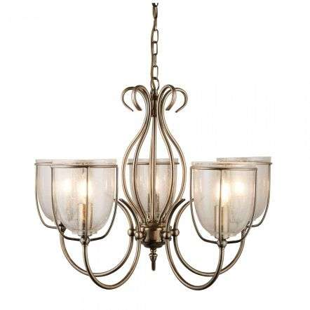 Searchlight 6355-5AB Silhouette 5 Light Antique Brass Clear Seeded Glass Shades