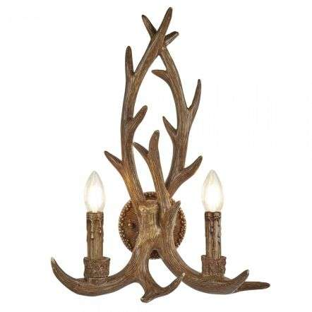 Searchlight 6412-2BR Stag 2 Light Antler Wall Bracket