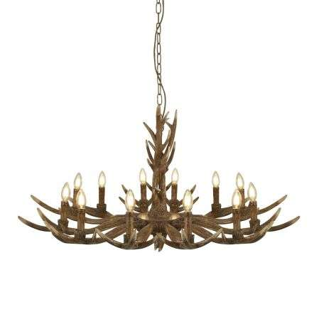 Searchlight 6416-12BR Stag 12 Light Antler Pendant Brown