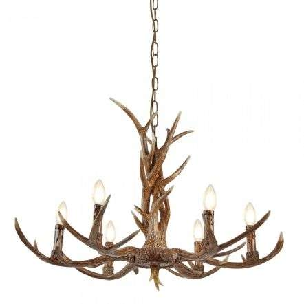 Searchlight 6416-6BR Stag 6 Light Antler Pendant Brown