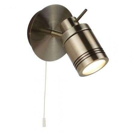 Searchlight 6601AB Samson 1 Light Ip44 Bathroom Spot Wall Light Antique Brass