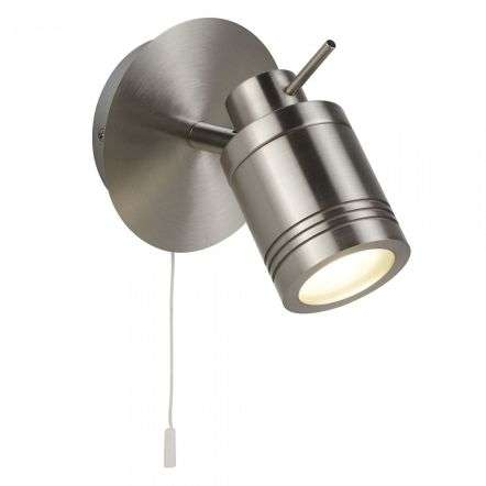 Searchlight 6601SS Samson 1 Light Ip44 Bathroom Spot Wall Light Satin Silver