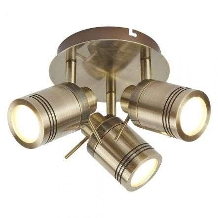 Searchlight 6603AB Samson 3 Light Ip44 Bathroom Spot Plate Antique Brass