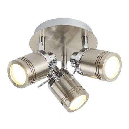 Searchlight 6603SS Samson 3 Light Ip44 Bathroom Spot Plate Satin Silver