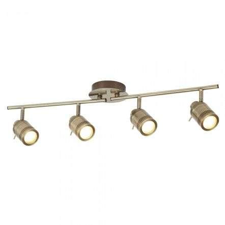 Searchlight 6604AB Samson 4 Light Ip44 Bathroom Spot Split Bar Antique Brass