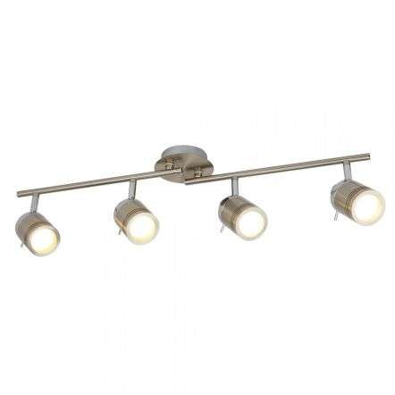 Searchlight 6604SS Samson 4 Light Ip44 Bathroom Spot Split Bar Satin Silver