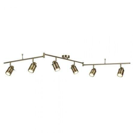 Searchlight 6606AB Samson 6 Light Ip44 Bathroom Spot Split Bar Antique Brass