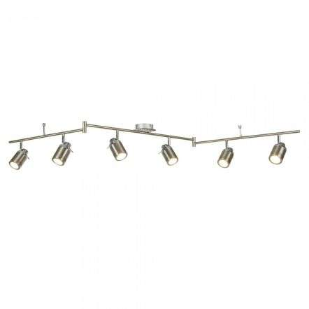 Searchlight 6606SS Samson 6 Light Ip44 Bathroom Spot Split Bar Satin Silver