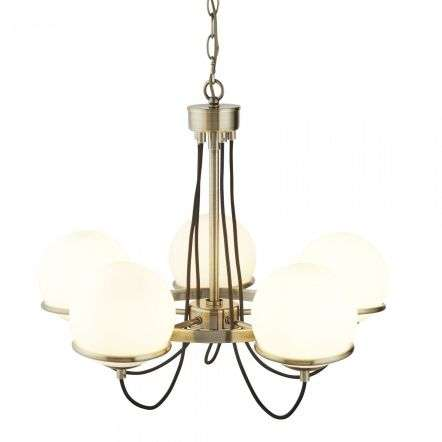 Searchlight 7095-5AB Sphere 5 Light Ceiling Antique Brass With Opal Shades