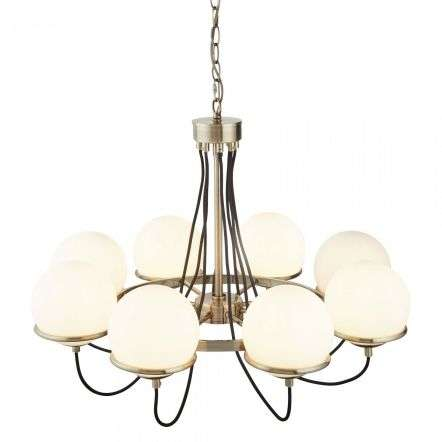 Searchlight 7098-8AB Sphere 8 Light Ceiling Antique Brass With Opal Shades