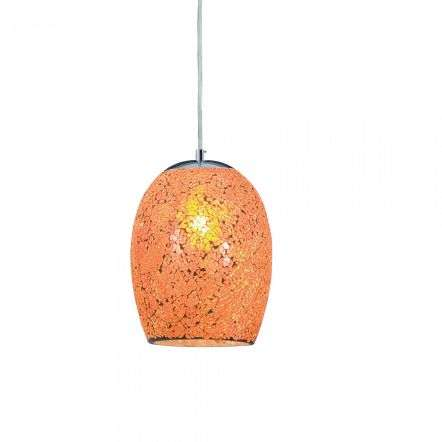 Searchlight 8069OR Crackle Orange Mosaic Glass Dome Fitting with Satin Silver Trim