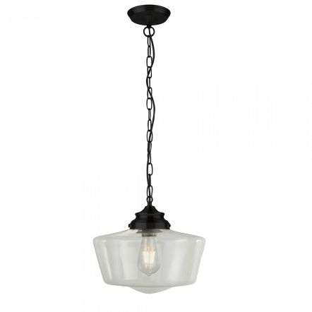 Searchlight 8071-1BK School House Black Pendant With Clear Glass