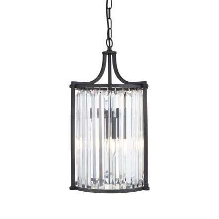 Searchlight 8092-2BK Victoria 2 Light Matt Black Pendant With Crystal Glass