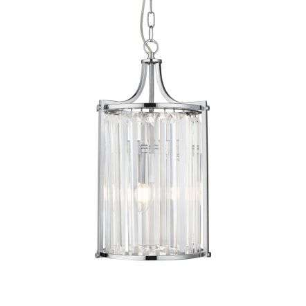 Searchlight 8092-2CC Victoria 2 Light Chrome Pendant With Crystal Glass
