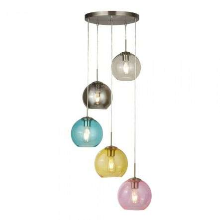 Searchlight 8135-5SS Mardi Gras 5 Light Multi Drop Pendant Coloured Glass