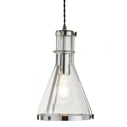 Searchlight 8201CC Metal & Glass Pendant 1 Light Framed Conical